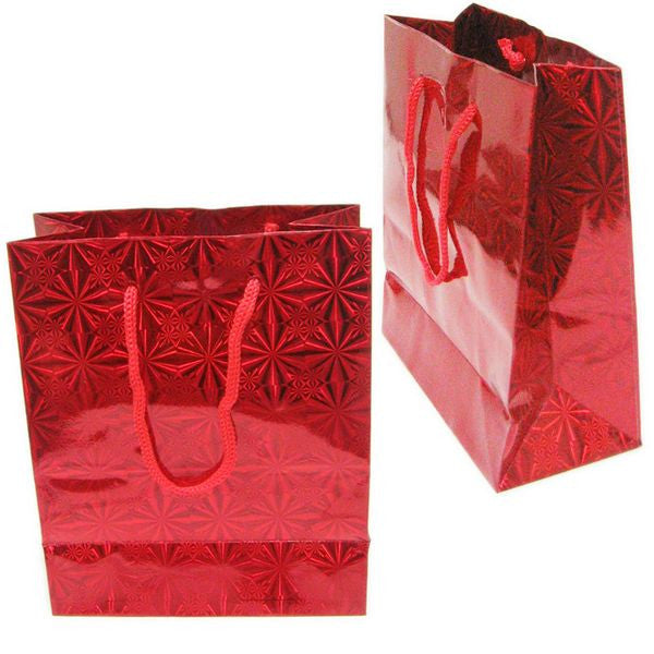 "BG-034 Holographic Eurotote Bags - 6"" x 4.5"" Red - DisplayImporter.com - 2"