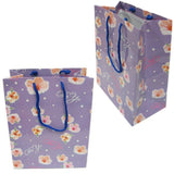 "BG-037 Euro-Handle Paper Shopping Bags - 9.5"" x 8"" Purple and White Flowers (#k01bg) - DisplayImporter.com - 2"