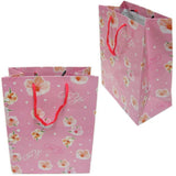 "BG-037 Euro-Handle Paper Shopping Bags - 9.5"" x 8"" Pink and White Flowers (#k01g) - DisplayImporter.com - 3"