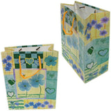 "BG-037 Euro-Handle Paper Shopping Bags - 9.5"" x 8"" Blue Flowers with Hearts (#k06g) - DisplayImporter.com - 5"