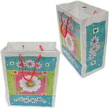 "BG-037 Euro-Handle Paper Shopping Bags - 9.5"" x 8"" Spring White Flower (#k07g) - DisplayImporter.com - 6"