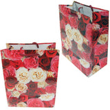 "BG-037 Euro-Handle Paper Shopping Bags - 9.5"" x 8"" Roses (#k31g) - DisplayImporter.com - 9"