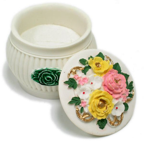 BX-036 Lovely Blooms with a Touch of Gold-Toned Mini Polyresin Jewelry Container with Lid - DisplayImporter