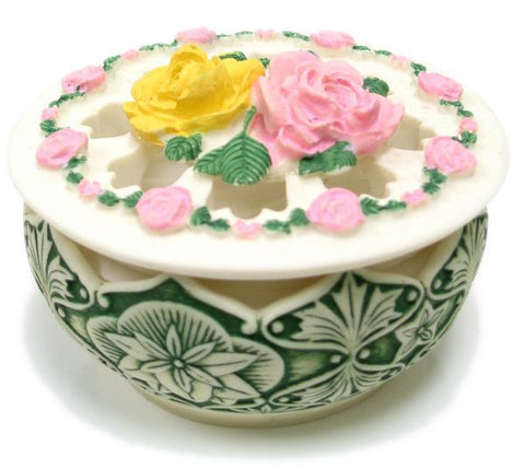 BX-037 Circle of Roses Polyresin Jewelry Container with Lid - DisplayImporter