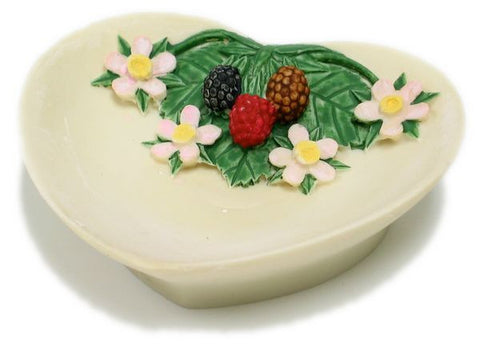 BX-038 Berries & Flowers Polyresin Heart Shape Jewelry Dish - DisplayImporter
