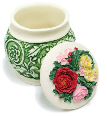 BX-039 Garden Vines & Flowers Polyresin Pot with Lid Jewelry Container - DisplayImporter