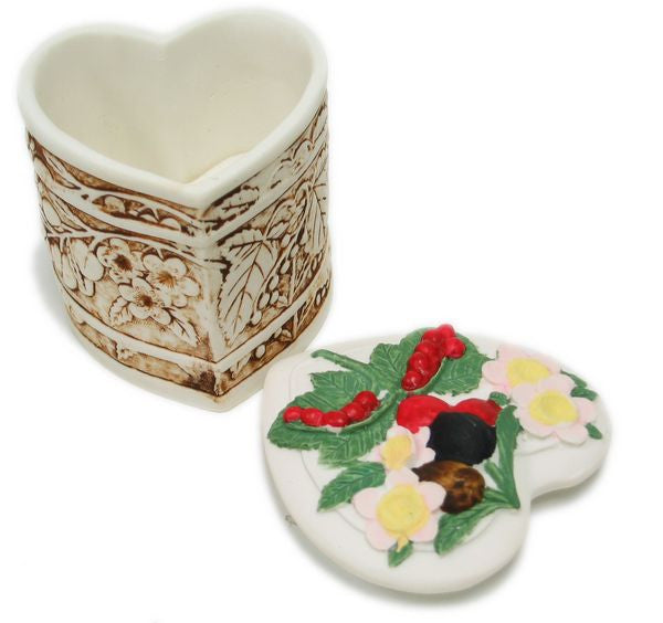 BX-040 Wild Berries Tall Heart Polyresin Jewelry Container with Lid  - DisplayImporter.com