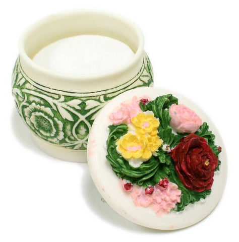 BX-041 Sweet Bouquet Mini Polyresin Pot with Lid Jewelry Container  - DisplayImporter.com