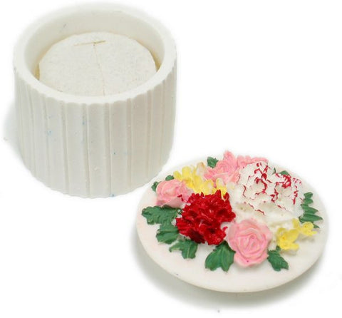 BX-043 Carnations & Roses Round Mini Polyresin Jewelry Container with Lid  - DisplayImporter.com