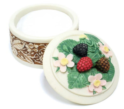 BX-045 Wild Berries Large Round Polyresin Jewelry Container with Lid  - DisplayImporter.com