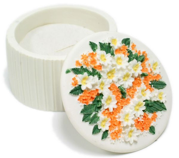 BX-046 Tropic Flowers Large Round Polyresin Jewelry Container with Lid - DisplayImporter
