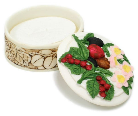 BX-048 Vineyard Fruits Mini Polyresin Oval Jewelry Container with Lid - DisplayImporter