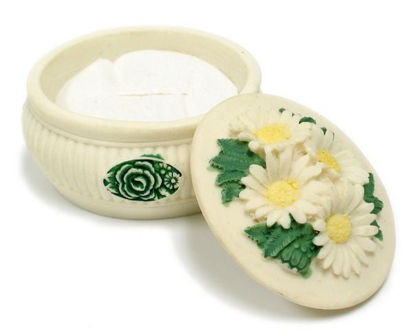 BX-049 4 Daisies Mini Polyresin Oval Jewelry Container with Lid  - DisplayImporter.com