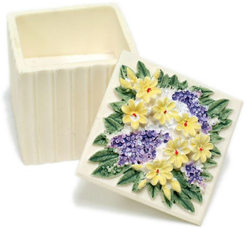 BX-050 Island Flowers Mini Polyresin Cube Jewelry Container with Lid  - DisplayImporter.com