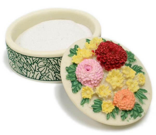 BX-051 Chrysanthemum Blooms Mini Polyresin Oval Jewelry Container with Lid  - DisplayImporter.com