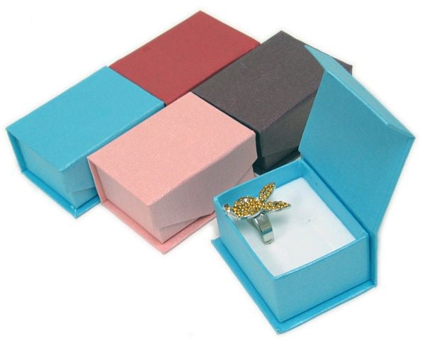 BX-062 Premium Double Slots Ring Boxes with Magnetic Snap-on Closure  - DisplayImporter.com