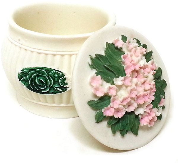 BX-063 Lovely Pink Flowers Mini Polyresin Jewelry Container with Lid - DisplayImporter