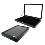 DS-071 Leatherette/Velvet Ring Insert Display Tray With Clear Glass Top  - DisplayImporter.com - 2