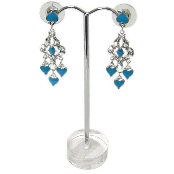 "DS-105 Arched Metal ""T"" Rod Single Pair Earring Stand on Translucent 3D Round Disk Base  - DisplayImporter.com"