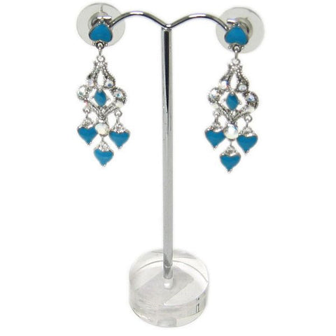 "DS-105 Arched Metal ""T"" Rod Single Pair Earrings Jewelry Display Stand on Translucent 3D Round Disk Base - DisplayImporter"