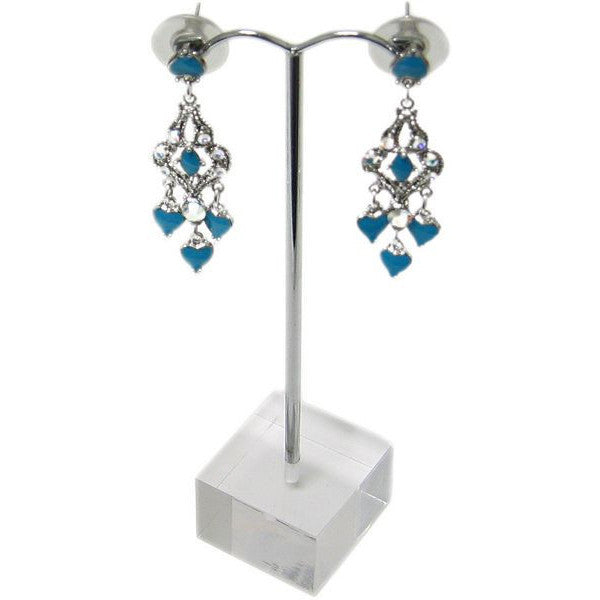 "DS-106 Arched Metal ""T"" Rod Single Pair Earrings Jewelry Display Stand on Translucent Cube Base - DisplayImporter"
