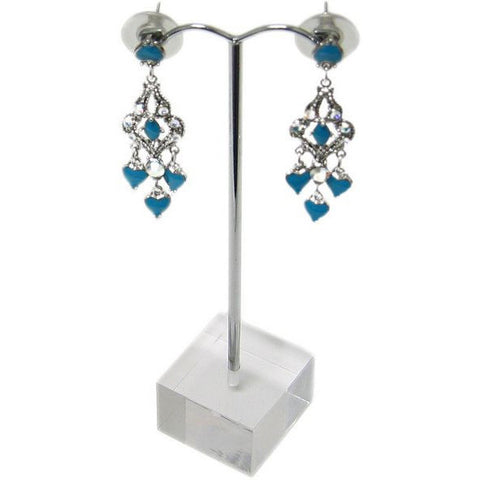 "DS-106 Arched Metal ""T"" Rod Single Pair Earring Stand on Translucent Cube Base  - DisplayImporter.com"