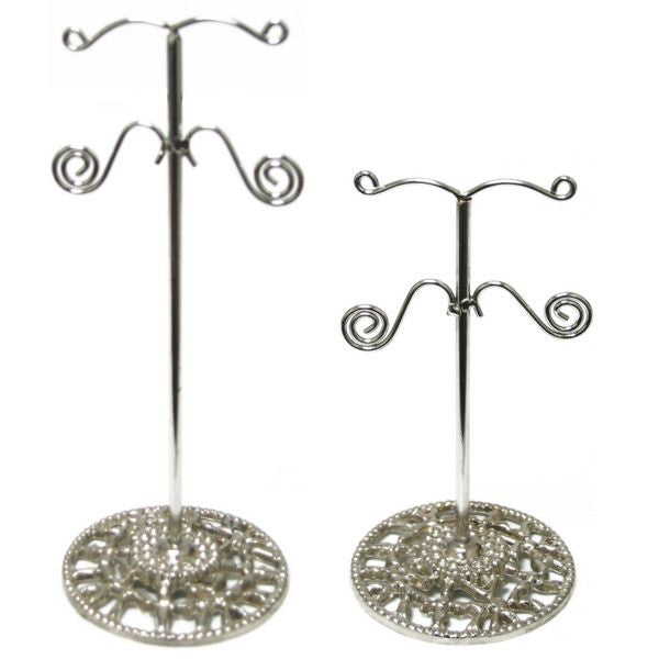 "DS-111 Arched 2-Tiered Metal ""T"" Rod & Base Earring Jewelry Display Stand Set - DisplayImporter"