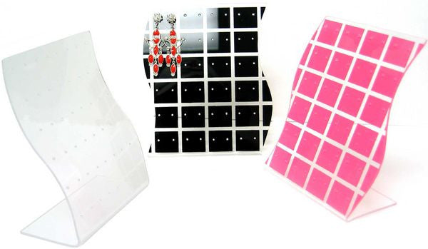 DS-115 Checkered Acrylic 24 Pair Stud Earrings Jewelry Display Panel with Wave Curve Sides - DisplayImporter