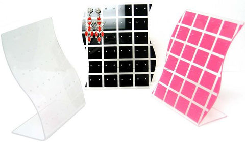 DS-115 Checkered Acrylic 24 Pair Stud Earring Display Panel with Wave Curve Sides - DisplayImporter
