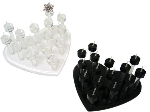 DS-118 Heart Shape Stacked 15 Peg Ring Display - DisplayImporter
