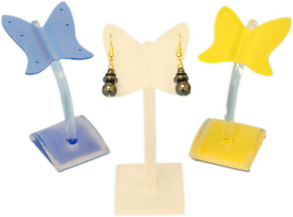 DS-123 Frosted Acrylic Butterfly Earrings Jewelry Display with Curved Base & Rod - DisplayImporter