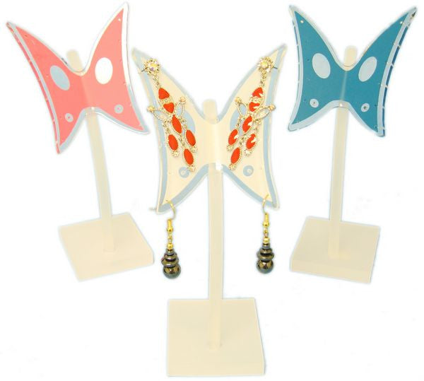 DS-126 Frosted Polyresin Base & Curved Rod Butterfly 7 Pair Earrings Jewelry Display Stand - DisplayImporter