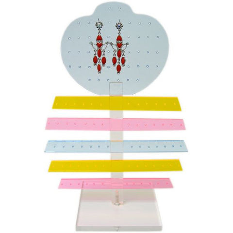 DS-127 56 Pair Acrylic Five Tier & Panel Earring Display Stand  - DisplayImporter.com