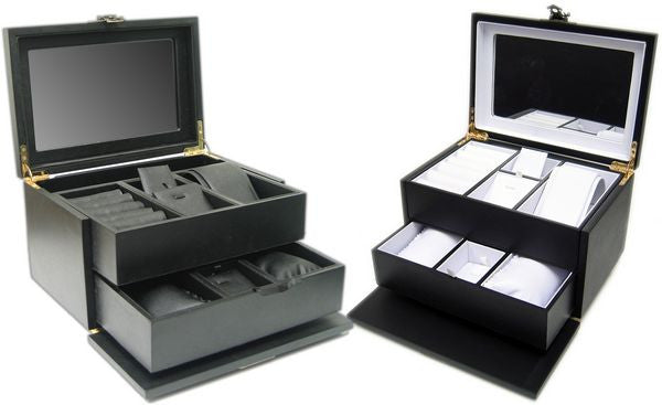 DS-137 Swing Latch Black Hardwood Jewelry Box  - DisplayImporter.com - 2