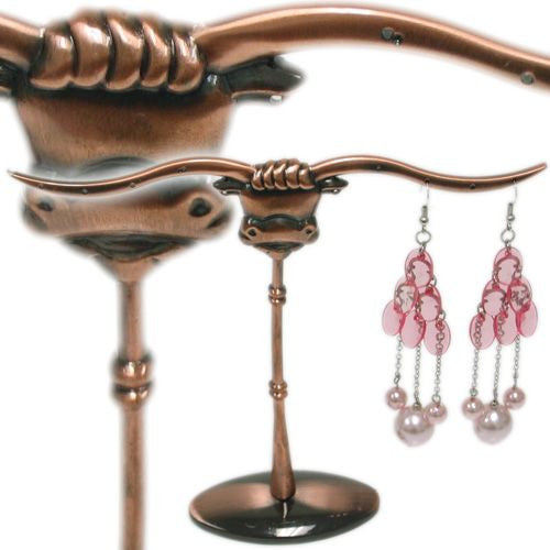 DS-151 Whimsical, Pierced Long Horn Bull Jewelry Display/Organizer - DisplayImporter