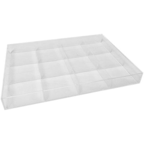 DS-168 Clear Acrylic Jewelry Tray with 12 Dividers  - DisplayImporter.com