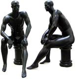 MN-071 Men's Full Size Sitting Masculine Mannequin with Pedestal Black - DisplayImporter.com - 2