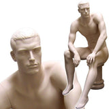 MN-071 Men's Full Size Sitting Masculine Mannequin with Pedestal Fleshtone - DisplayImporter.com - 3