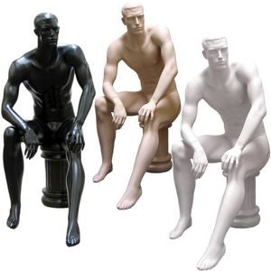 MN-071 Male Full Body Abstract Sitting Masculine Mannequin with Pedestal - DisplayImporter