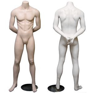 MN-084 Male Headless Mannequin with Arms Behind Back (Military Stand At Ease Pose) - DisplayImporter