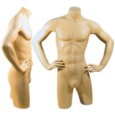 MN-127 Freestanding Masculine Male Torso Form with Arms On Waist - DisplayImporter