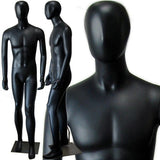 MN-145 Full Size Male Mannequin with Abstract Face Black - DisplayImporter.com - 2