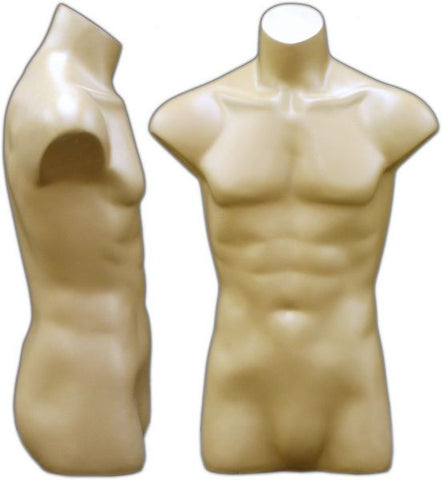 MN-149 Freestanding Armless Masculine Male Torso Form Fleshtone - DisplayImporter.com - 2