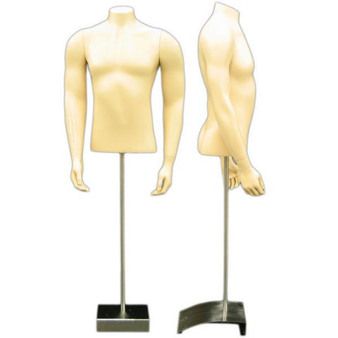 MN-151 Masculine Male Torso Mannequin Form with Arms and Stand - DisplayImporter