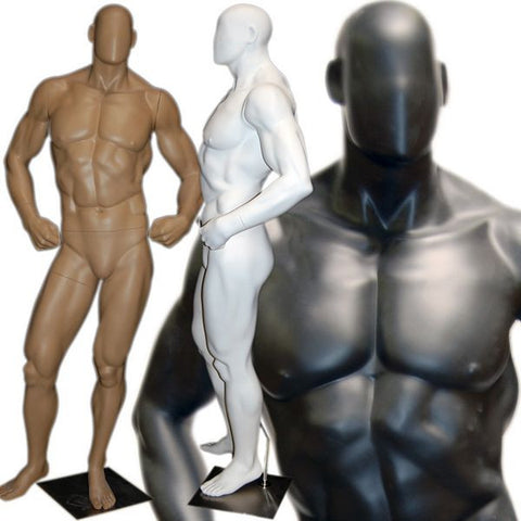 MN-180 Muscle Bodybuilder Mannequin in Tone & Flex Pose  - DisplayImporter.com - 1