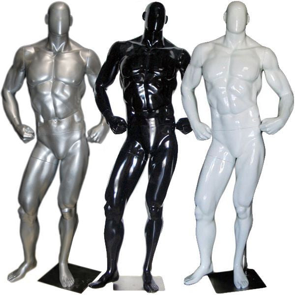 MN-181 Glossy Muscle Bodybuilder Male Mannequin in Tone & Flex Pose - DisplayImporter