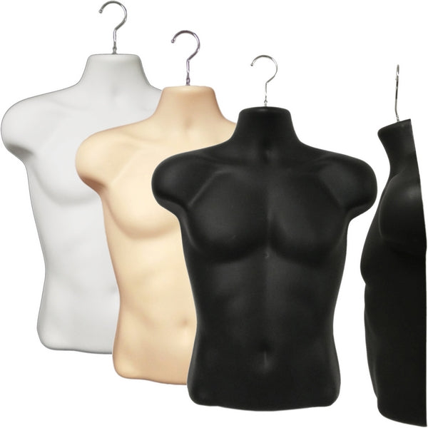 MN-187 Male T-Shirt Heavy Duty Injection Mold Hanging Torso Form - DisplayImporter