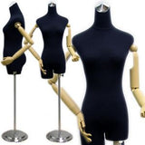 MN-213 Ladies Dress Form with Flexible Arms and Fingers Black Velvet - DisplayImporter.com - 3