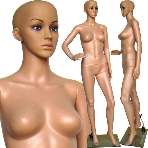 MN-234 Plastic Female Full Body Mannequin with Removable Head and Free Wig - DisplayImporter