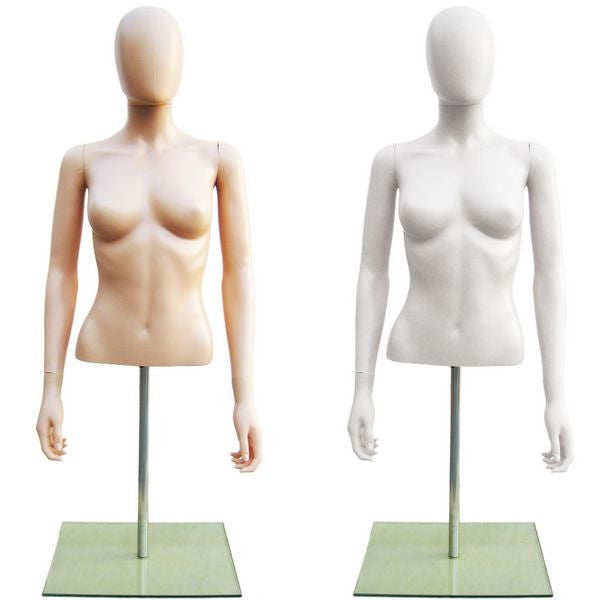 MN-246 Plastic Half Body Female Upper Torso Countertop Form with Removable Head  - DisplayImporter.com - 1